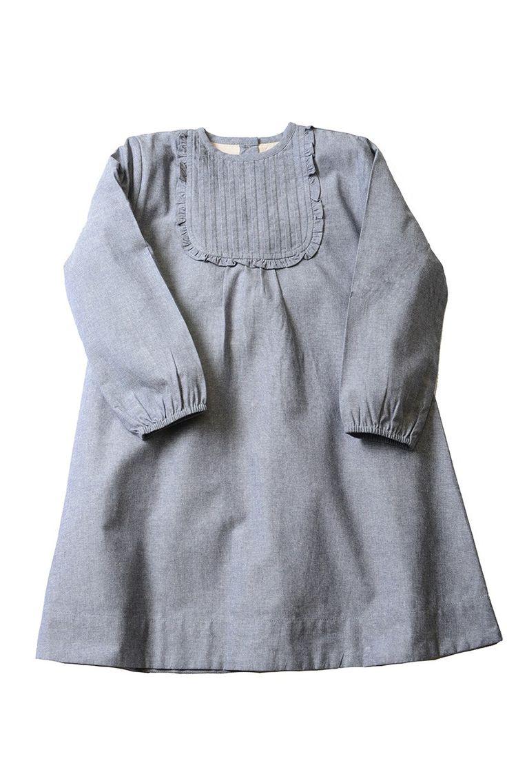 Chambray Ruffle Bib Dress