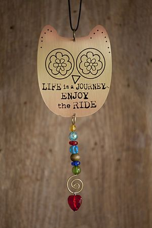 "Cute owl car charm with colorful beads and ""life is a journey enjoy the ride"" at bottom"
