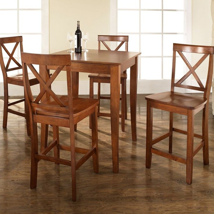 Casual dining set. Similar to other but I like the legs more. Crosley 5-Piece Pub Dining Set with Cabriole Leg and X-Back Stools - $509 @hayneedle