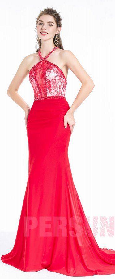 Longue Robe rouge vif en sirène sexy col licou avec empiècement de dentelle pour corps sablier parfait pour soirée cérémonie reveillon