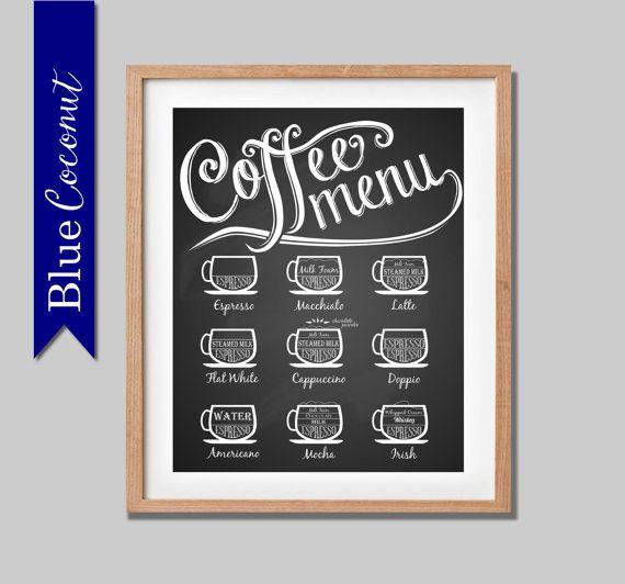 Coffee Menu Barista style espresso cappuccino by TheBlueCoconut