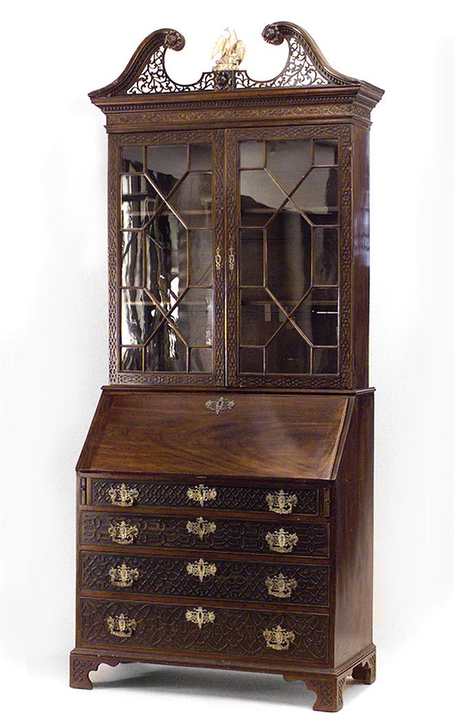 English Chinese Chippendale Cabinet Case Piece Secretary