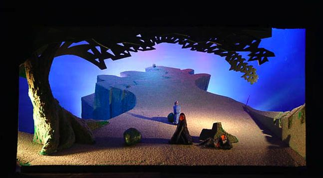 WOW - What an amazing depth David Hockney achieved here!  I love the tree which feels traditional but has an abstract leaf structure. The lighting design is spectacular as well. Tristan and Isolde set, designed by David Hockney, Los Angeles, 1987 - Opera