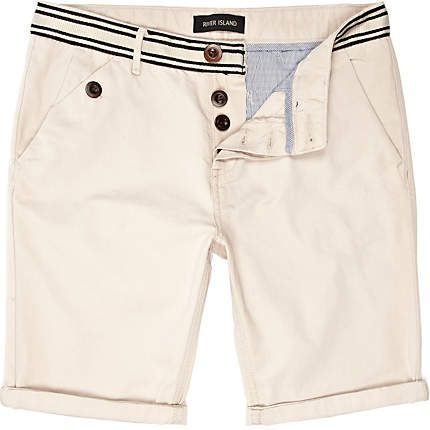 Striped waist chino shorts