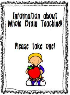 Back to School parent letter for Whole Brain Teaching!