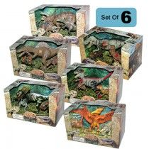 Lontic Extinct World Articulated T-Rex Triceratops Spinosaurus Velociraptor Dilophosaurus Pteranadon Dinosaur Toy Action Figures Play Sets - 5 Box Bundle | Nothing But Dinosaurs
