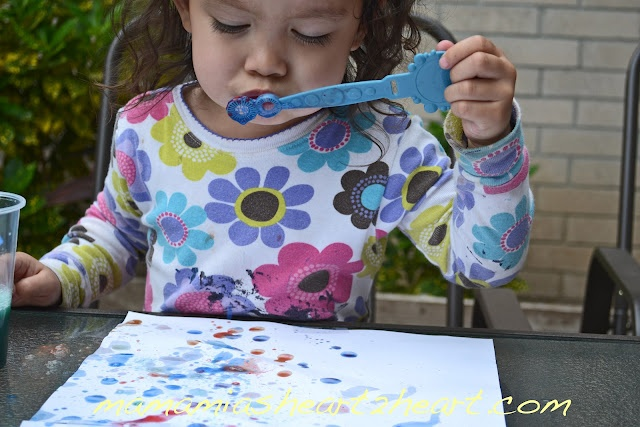 Painting with Bubbles  @Mama Mia's Heart 2 HeartCrafts Arts Cr, Bubbles Mama, Development Persistence, Kids Activities, Kids Crafts, Handles Frustration, Mia Heart, Blowing Bubbles, Life Success