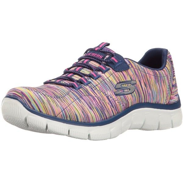Amazon.com | Skechers Sport Women's Empire Game on Fashion Sneaker,... ($65) ❤ liked on Polyvore featuring shoes, sneakers, wide width sneakers, skechers footwear, skechers sneakers, navy blue shoes and navy sneakers