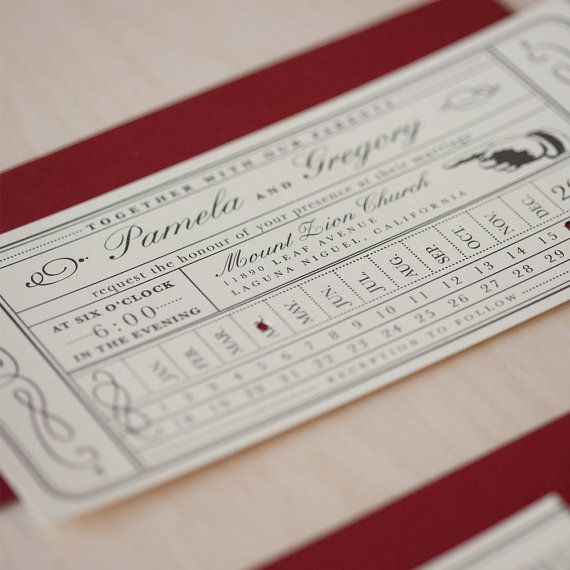 Vintage Ticket Wedding Invitation inspired by an old punch card train ticket.