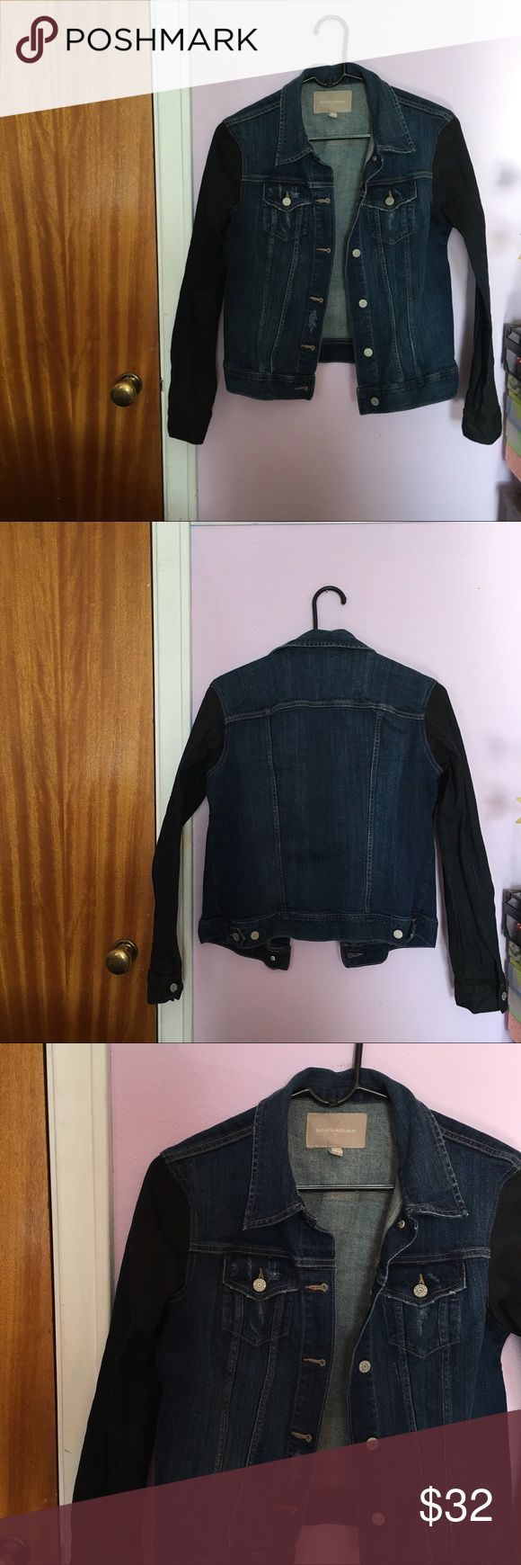 Denim Jacket   Banana Republic Chic denim jacket from Banana Republic. Features a dark denim wash with black denim sleeves. Absolutely amazing and perfect for the fall and winter. 😍  Size: M.   In excellent used condition! Banana Republic Jackets & Coats