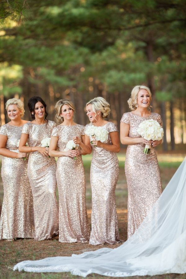 Glittery Bridesmaid Dresses with Cap Sleeves 2015 trend glitter and sequince