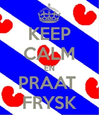 """Keep calm and speak Frisian."" I love that the Frisian flag looks like it has hearts on it!"