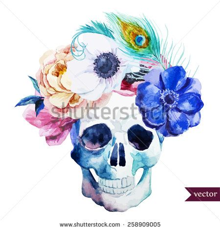 Watercolor Flowers Skull Peony Anemone Feathers Boho