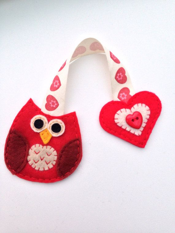 Baby owl handmade felt bookmark by RoseDragonCrafts on Etsy, £3.50