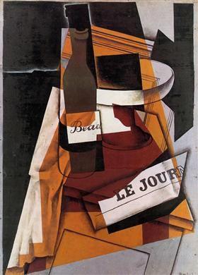 Bottle, Newspaper and Fruit Bowl - Juan Gris