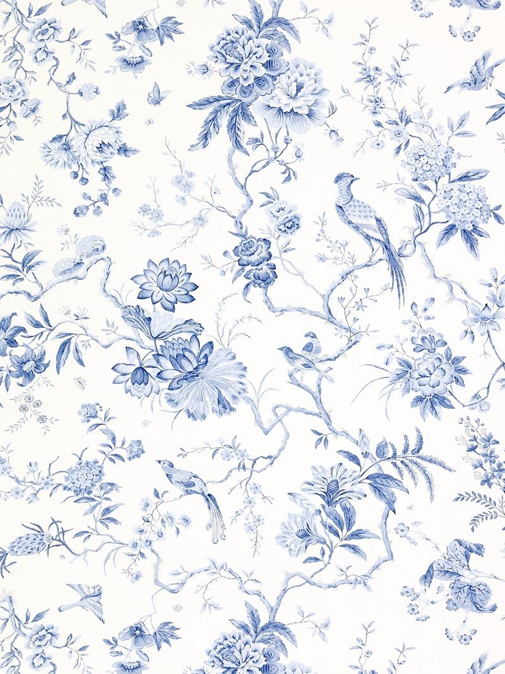 Sanderson wallpaper pillemont dpempi101 china blue for Kitchen print wallpaper
