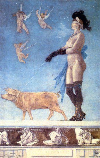 Félicien Rops, Pornokrates, 1878, Watercolor, pastel and gouache, 69 x 45 cm, Musée Félicien Rops, Namur