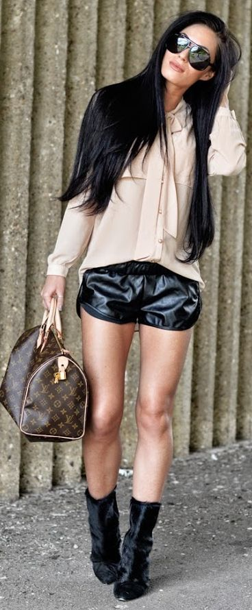 Pretty Little Thing Bright Black Women's Sporty Faux Leather Shorts