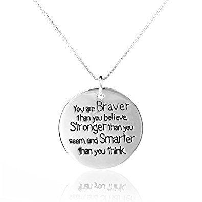 925 ELBONTEK de plata de ley el cáncer con mensaje en: You are Brave than You believe... Collar con, 45,72 cm - unisex