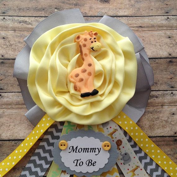 Giraffe Theme Mommy To Be Baby Shower Giraffe Theme Mommy To Be Corsage  Yellow & Grey Chevron Mommy To Be Corsage  Measure 4 wide x 7 long  Ready for shipping via USPS First Class Standard Rates Fees  For Rush Order Send You Request Via Convo.  IMPORTANT: PLEASE STATE DATE NEED BY AND THE NAME ON TAG
