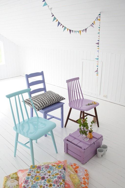 Great way to add colour to any room  but i think perfect for a bedroom....painting some old chairs in nice colors and creating a new fresh look