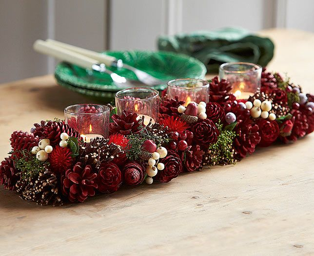 Victorian Dried Flower Candle Holder | Bloom Artificial Flowers Great centrepiece for your festive table.