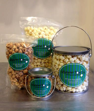 Whatever Pops Up. A cute gourmet popcorn store set out of Colorado. This cute product is displayed using two of our Clear Plastic Art Cans.  Check them out at http://www.whateverpopsup.com/  #popcorn #paintcan #packaging