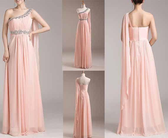 champagne grecian flowy dress