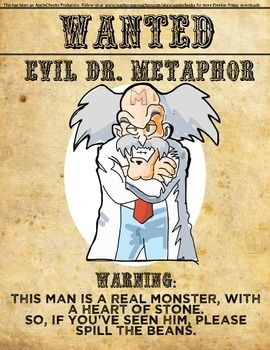 Each week we will be giving our follows one free and useful resource.Why not surprise your students will a cool new resource for the classroom each week? And don't forget, it's FREE!This week's free resource: Evil Dr. MetaphorPrint as large as you need.