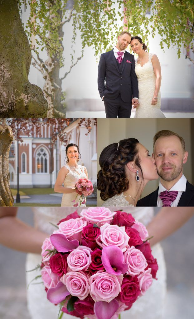 Bröllopsfotografering med fotograf Maria Lindberg. Wedding photography by Swedish photographer Maria Lindberg. Weddingdress, wedding poses, church