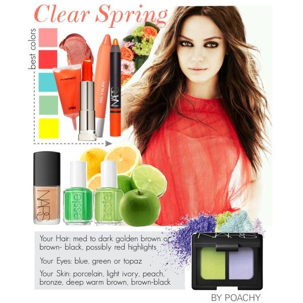 Clear Spring. by poachy on Polyvore featuring beauty, NARS Cosmetics, Napoleon Perdis, Bare Escentuals, Essie, Spring, makeup, lime, milakunis and colorpalette