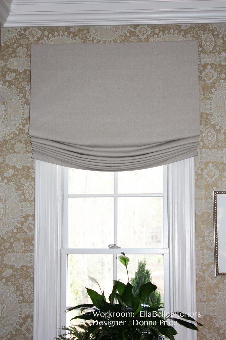Contemporary roman shade in schumacher imperial trellis fabric by - Relaxed Roman Shade
