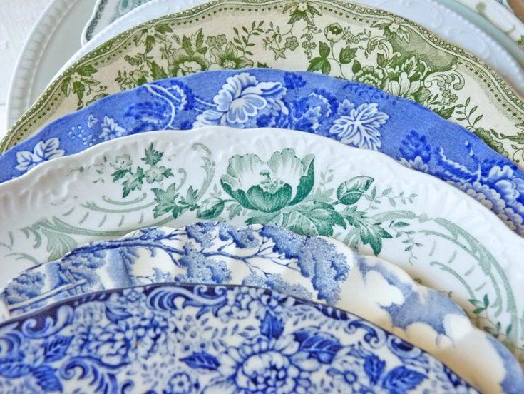 Vintage Teller Madame Pompadour grün weiß, Englisch Landhaus-Stil, Landschaft-Dekor, Mismatched Tellermix Speiseteller, Frankreich Nordisch – FRANCE Vintage Country Home French Living