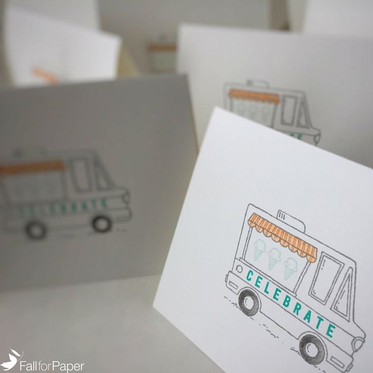 """5 Likes, 2 Comments - Fall for Paper (@fallforpaper) on Instagram: """"Custom food truck birthday cards for parties! #fallforpaper #handmade #cards #prints #paper…"""""""