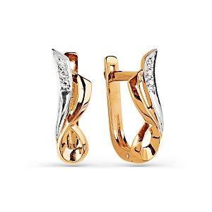 Серьги из красного золота с белыми бриллиантами.