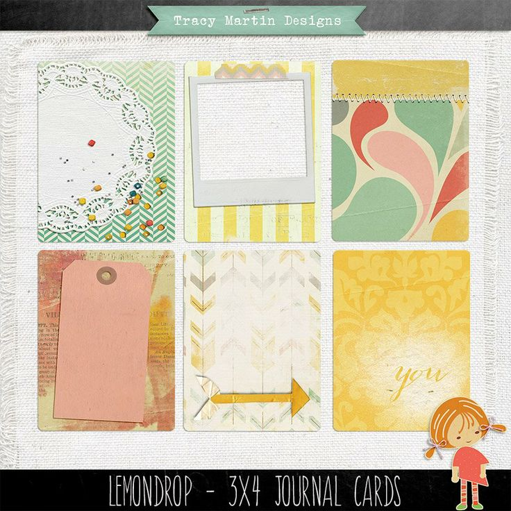 Free Lemon Drop Journal Cards from Tracy Martin Scrapbook Designs {on Facebook}