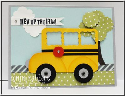 InkspiredTreasures.com, Stampin Up, Back to school, bus, punch art, Rev Up the Fun