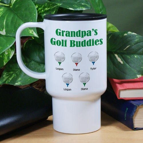 Golf Buddies Personalized Travel Mugs. Show off all your little buddies on the go when you use this Personalized Golf Buddies Travel Mugs. Early morning tee times and golfing with your children or grandchildren will be even more special when you use this Golf Travel Mug. Each Golf Buddies Travel Mug makes a great gift idea for Dad on Father's Day or any wonderful occasion. Our Personalized Golf Buddies Travel Mugs is dishwasher and microwave safe and holds 15oz.