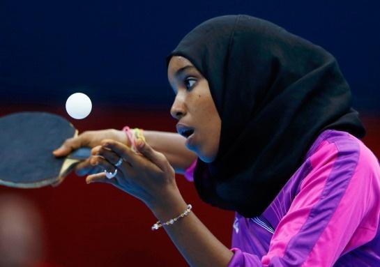 Djibouti's Yasmin Hassan Farah serves during her women's singles preliminary-round table-tennis match