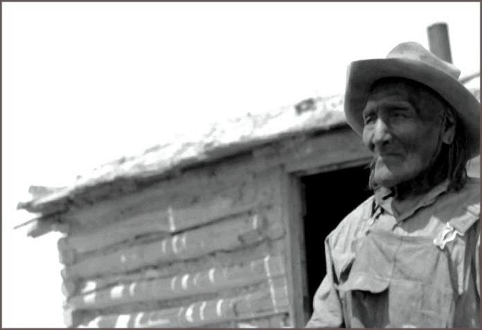 He may be an old man in this photo but Scabbard Knife was once a warrior who fought against Custer at Little Big Horn. This photograph of him was taken at the Rosebud Reservation in 1936.