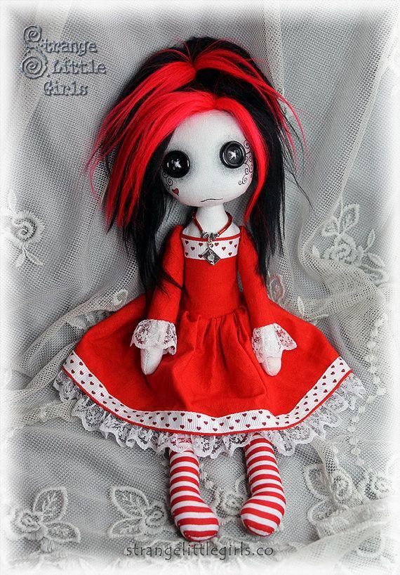 Button-eyed Gothic Lolita cloth art doll Valentina Rouge by Strange Little Girls