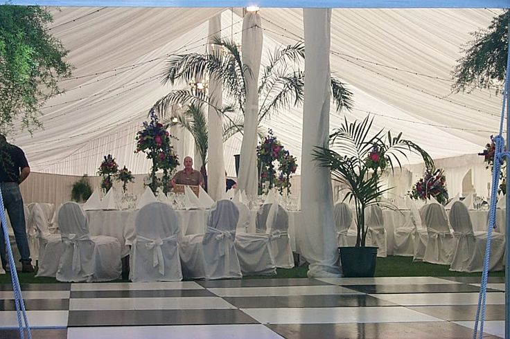 Dancefloor, silked poles and silked ceiling