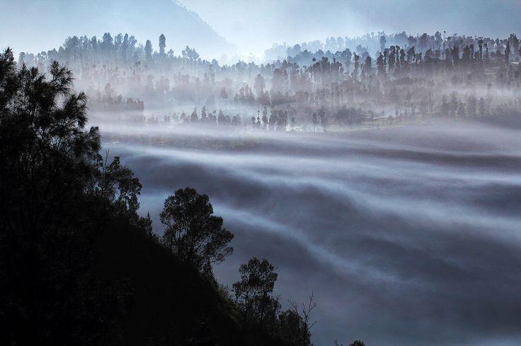 """Robyn Hooz posted a photo:  """"La Natura siede qui solitaria e minacciosa, e caccia da questo suo regno tutti i viventi."""" - Ugo Foscolo  Le pendici dell'immenso cratere del vulcano Bromo, al mattino, si riempiono di esalazioni tanto affascinanti quanto tossiche ed ostili..  Foto di archivio, Indonesia, primavera 2016  Buona serata"""