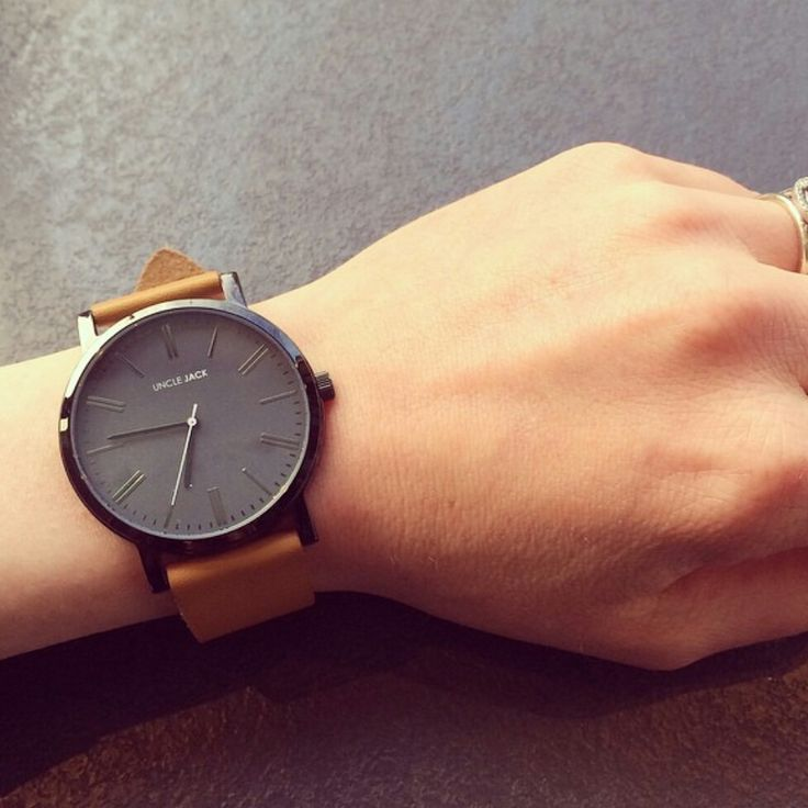 Stainless steel and Genuine Leather Tan-Black Unisex Watch   Uncle Jack