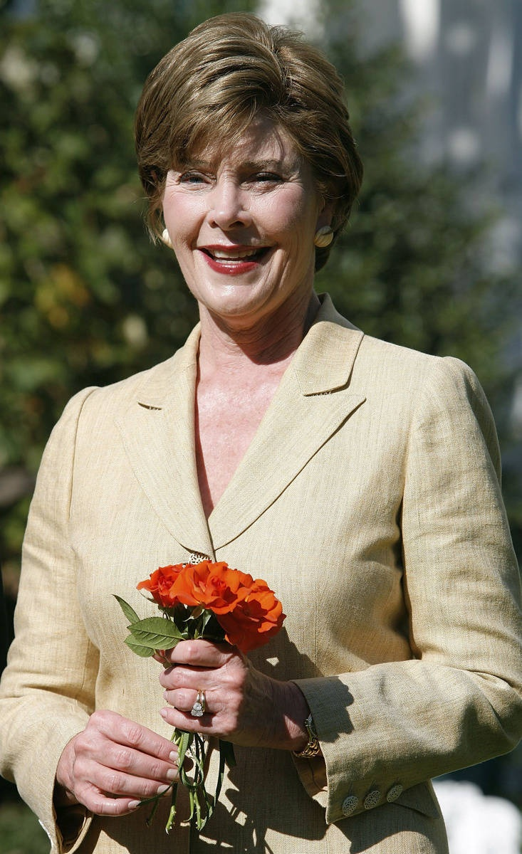 Laura Bush, 1946-  George W. Bush's wife is the only first lady to give birth to twins, to work as a librarian and to substitute for a president in his weekly radio address.