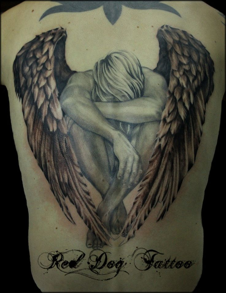 Warrior Angel Tattoos | Grey Ink Warrior Angel Tattoo On Right Half Sleeve