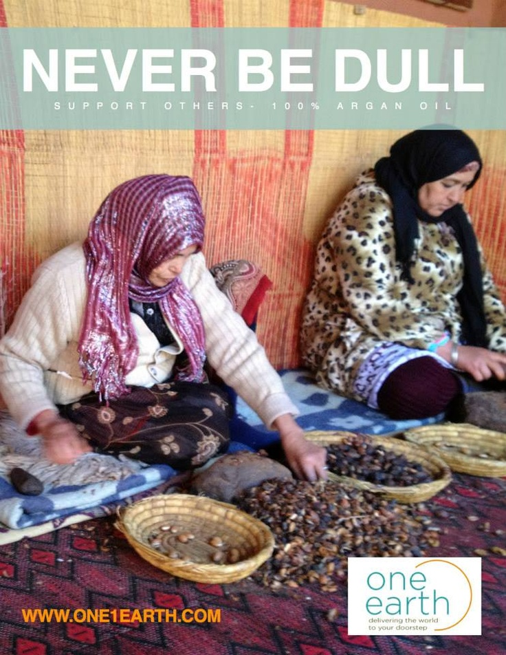 We work with Women's Co-ops in Morocco to supply our Spa products and 100% pure Argan Oil. The money goes directly to training and supporting women and their families. The method of extracting Argan Oil is centuries old and quite an art form. Be Part of Change.