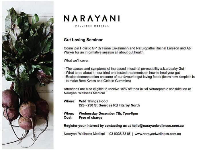 Our Nutritional Doctor clinic has three core values, emotional and spiritual wellbeing, biochemistry and food as medicine. The combination of these ensures that we address and support all aspects of your health so you can feel better, sooner.   Visit here: http://www.narayaniwellness.com.au/events/