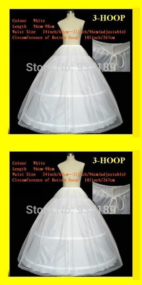 Wedding Accessories Free Shipping High Quality 3 Hoop 2 Layers White Bridal Petticoat Crinoline With Lace Edge