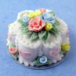 Miniature Pastel Flower Cake w/Roses | Stewart Dollhouse Creations, real artistry went into these miniature food designs